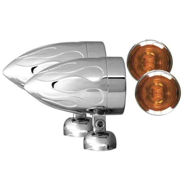 "Adjure NS22013-A BEACON-2 BULLET LIGHTS (2 1/4"" DIAMETER) AMBER LENS HALOGEN- FLAMED HOUSING DIAMOND MOUNT 20W"