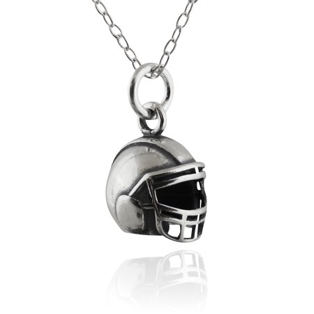 Sterling Silver Tiny Football Helmet Charm Necklace, 18