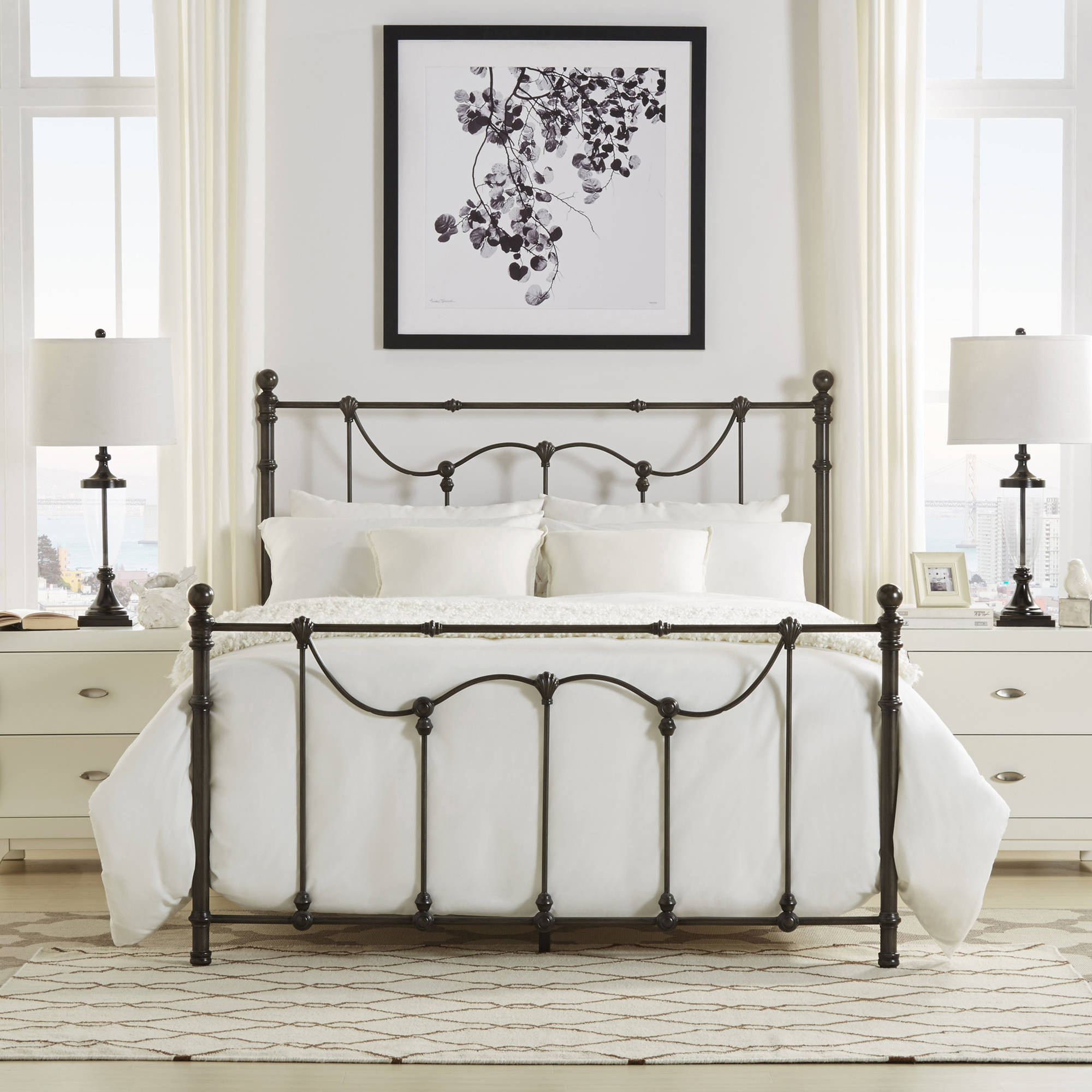 Weston Home Ryde Queen Size Metal Bed, Multiple Finishes