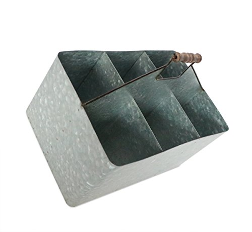 Barnyard Designs Vintage Carry All Galvanized Metal Serve Ware |  Multipurpose Storage Bin,
