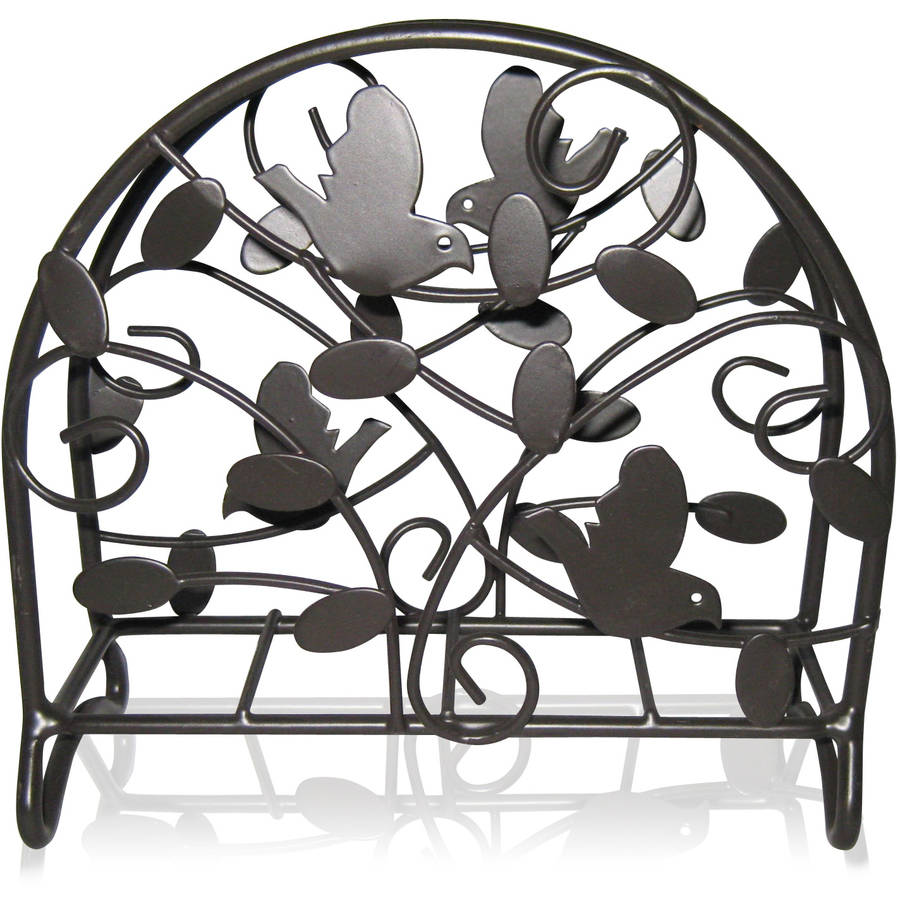 Home Basics Small Napkin Holder, Bird and Flower, Black