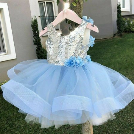 Girl Kids Blue Tutu Dress Sequins Princess Party Wedding Flower Bridesmaid Tulle Gown](Blue Kid Dresses)