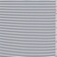 White/Black Pinstripe Double Knit, Fabric By the Yard