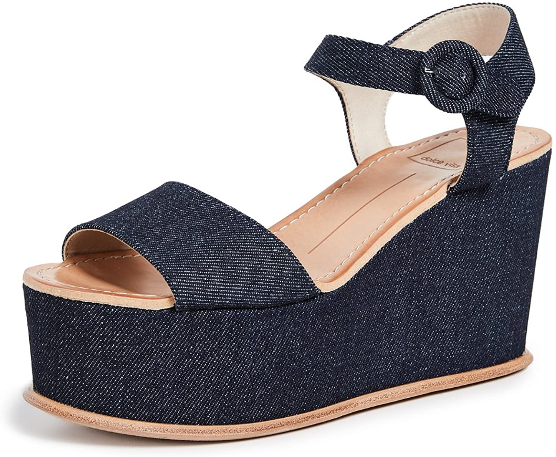 DATIAH Wedge Sandal, Dark Blue Denim, 6