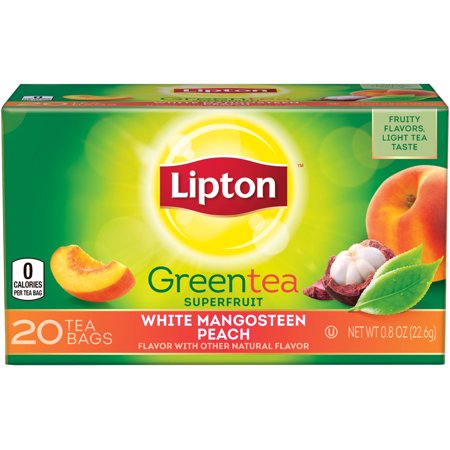 (4 Boxes) Lipton White Mangosteen Peach Green Tea Bags 20 ct Ginger Peach Green Tea
