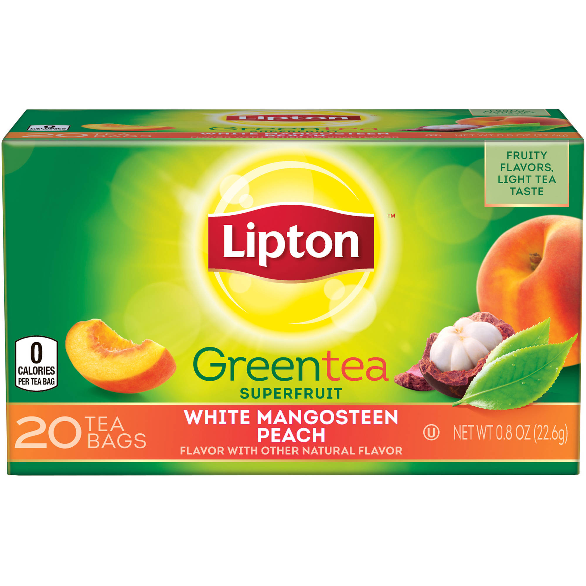 Lipton White Mangosteen Peach Green Tea, 20 ct