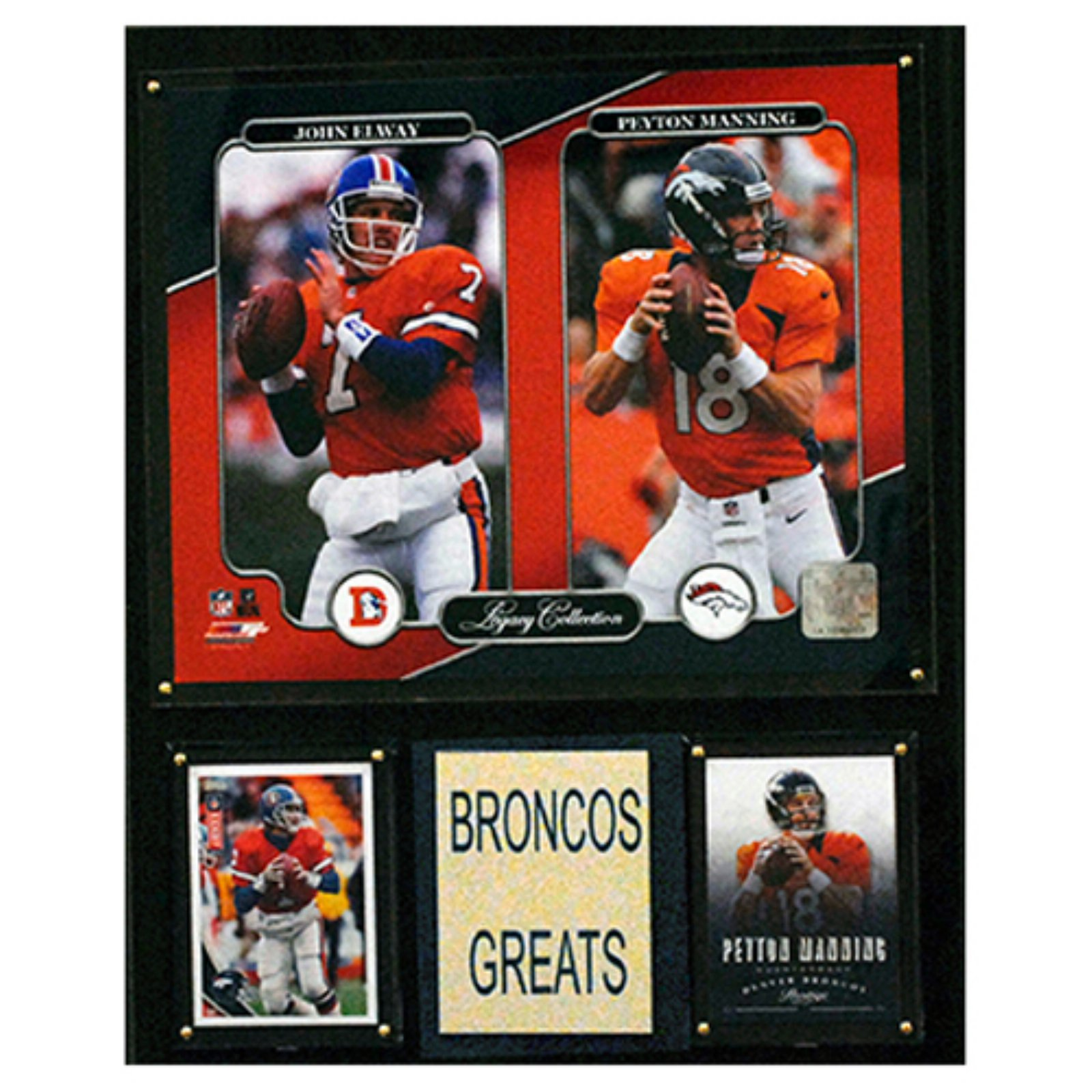 "C & I COLLECTABLES NFL 12""x 15"" John Elway-Peyton Manning Denver Broncos Legacy Collection Plaque"