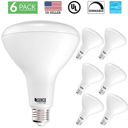 Sunco Lighting 6 Pack BR40 LED Light Bulb 17 Watt (100 Equivalent) 4000K Kelvin Cool White 1400 Lumens, 25,000 Hours, Flood Dimmable Indoor / Outdoor, Home, Office And More - UL & ENERGY STAR LISTED (Led Br40)
