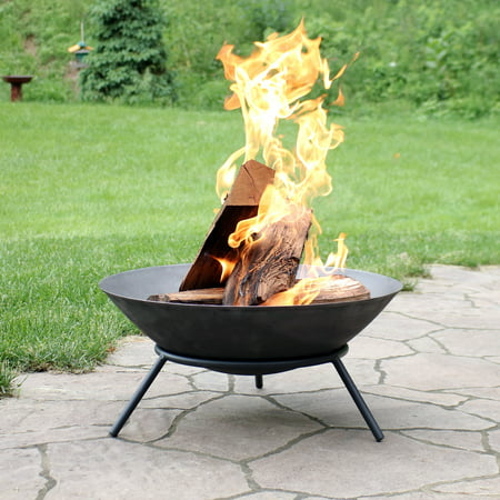 Sunnydaze Raised Portable Fire Pit Bowl, Small Round Outdoor Wood Burning Patio Firepit with Sturdy Stand, Cast Iron, 22 Inch ()