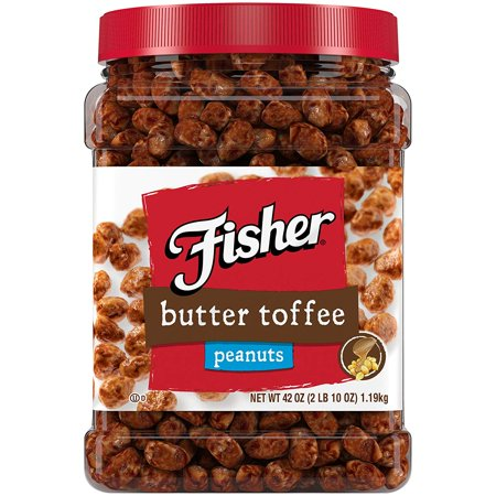 Fisher Snack Butter Toffee Peanuts, Gluten Free, 42 oz Resealable Jar