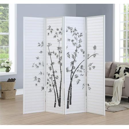 Roundhill Bamboo Print 4-Panel White Framed Room Screen/Divider ()