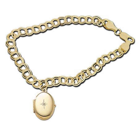 14K Yellow Gold Oval Locket Bracelet - 7 Inch Solid 14K Yellow Gold