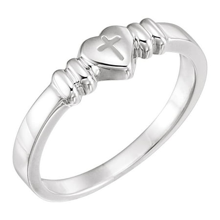 - Jewels By Lux 925 Stamped Sterling Silver Heart with Cross Chastity Ring Size 4