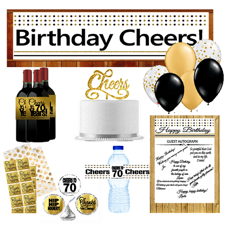 70th Birthday Party DecorationsDecoraitons Kit W Banner Water Bottle Labels Hersheys Stickers Balloons Cake Decoration
