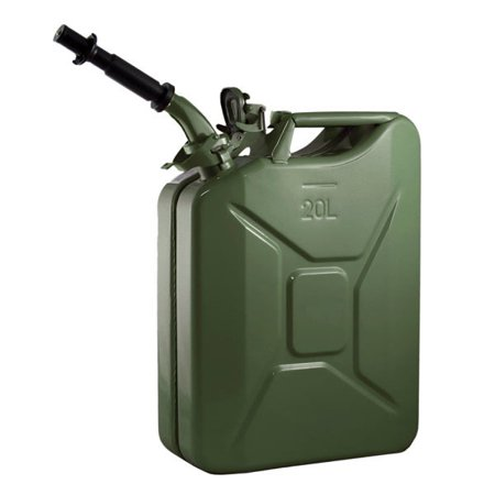 Zimtown 5 Gallon Petrol Jerry Can with Spout, 20L 0.6mm Cold Rolled Steel Gasoline Fuel Container Caddy Tank, for Emergency