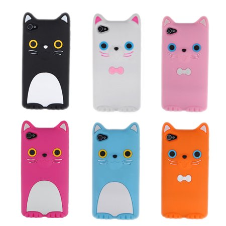 3D COCO Cat with Cute Soft Ear Snap-on Silicone Back Cover Case for Phone 4 4S