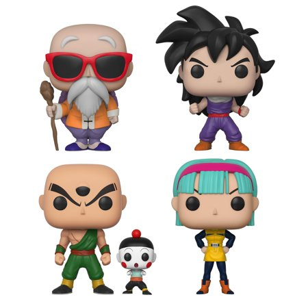 Funko POP! Animation Dragon Ball Z Series 4 Collectors Set - Master Roshi w/staff, Gohan, Chiaotzu & Tien, Bulma](Tien Dbz)