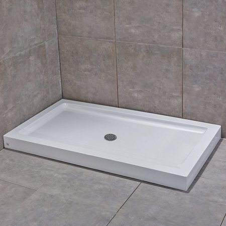 Shower Floor Drain Acrylic Base (Woodbridge Center Drain Reversible Acrylic Shower Base, 48