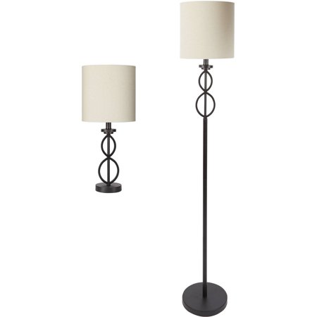 Mainstays Table and Floor Lamp Set, Black Matte Finish - Walmart.com
