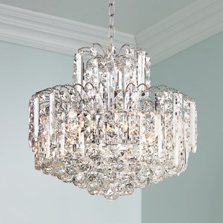 "vienna full spectrum leya 19"" wide chrome and crystal 6-light chandelier"