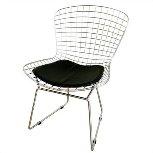 Baxton Studio Bertoia  Dining Chair in Silver (Set of 2)