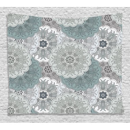 Grey Decor Tapestry Arabesque Tile Mandala With Oriental