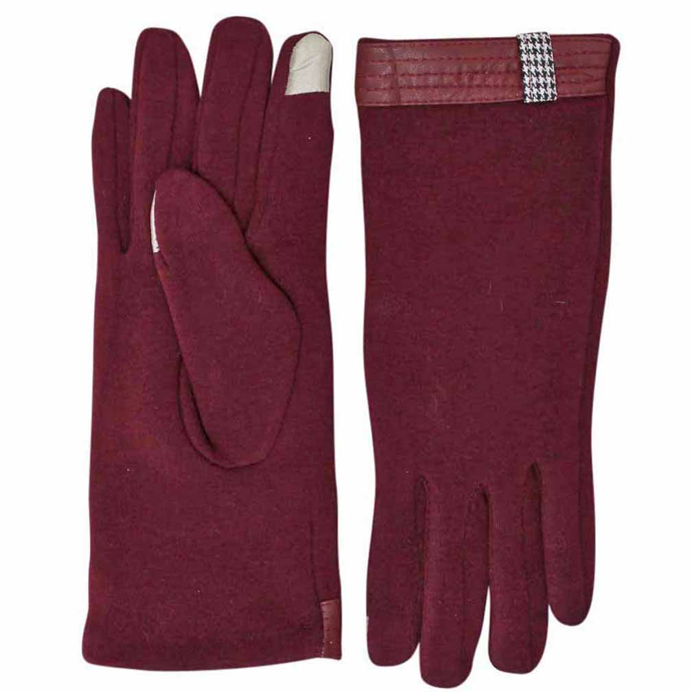 Luxury Divas Cotton Gloves With Houndstooth Trim & Texting Tips