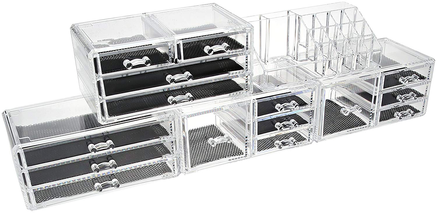 Unique Home Acrylic Makeup Cosmetic Organizer 5 Piece Large Set to Conceal  Lipstick, Eye,Shadow, Brushes with 4 Storage Drawers, Clear, 5 Piece Set