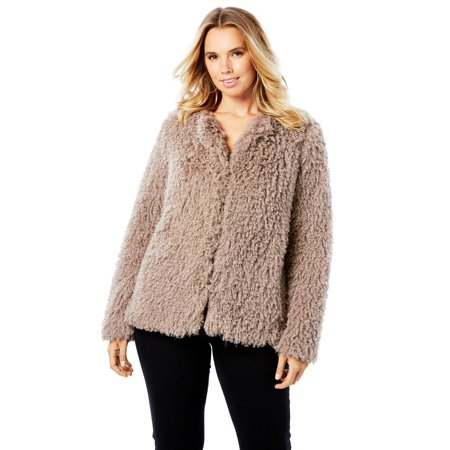 Roaman's Plus Size Plush Faux Fur Coat ()