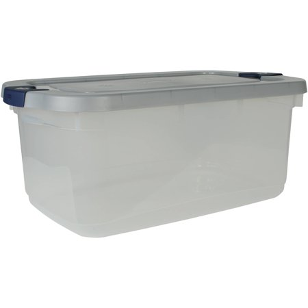 Rubbermaid Roughneck Clear Storage Tote Bins  50 Qt  12 5 Gal   Clear With Gray Lid  Set Of 5