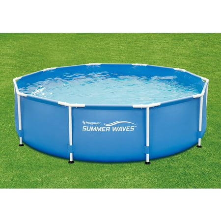Summer waves 10 39 x 30 round metal frame above ground for Above ground pools quick set