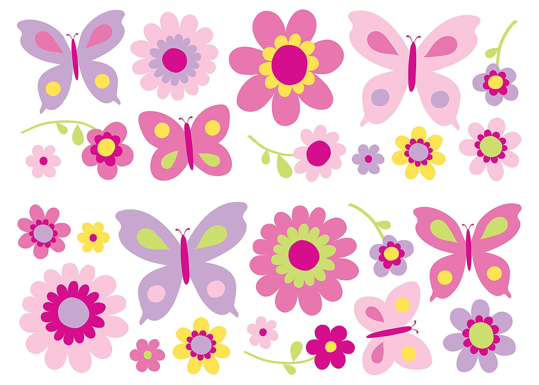 Captivating Fun4Walls Butterfly And Flowers Wall Decals   Walmart.com Design Inspirations