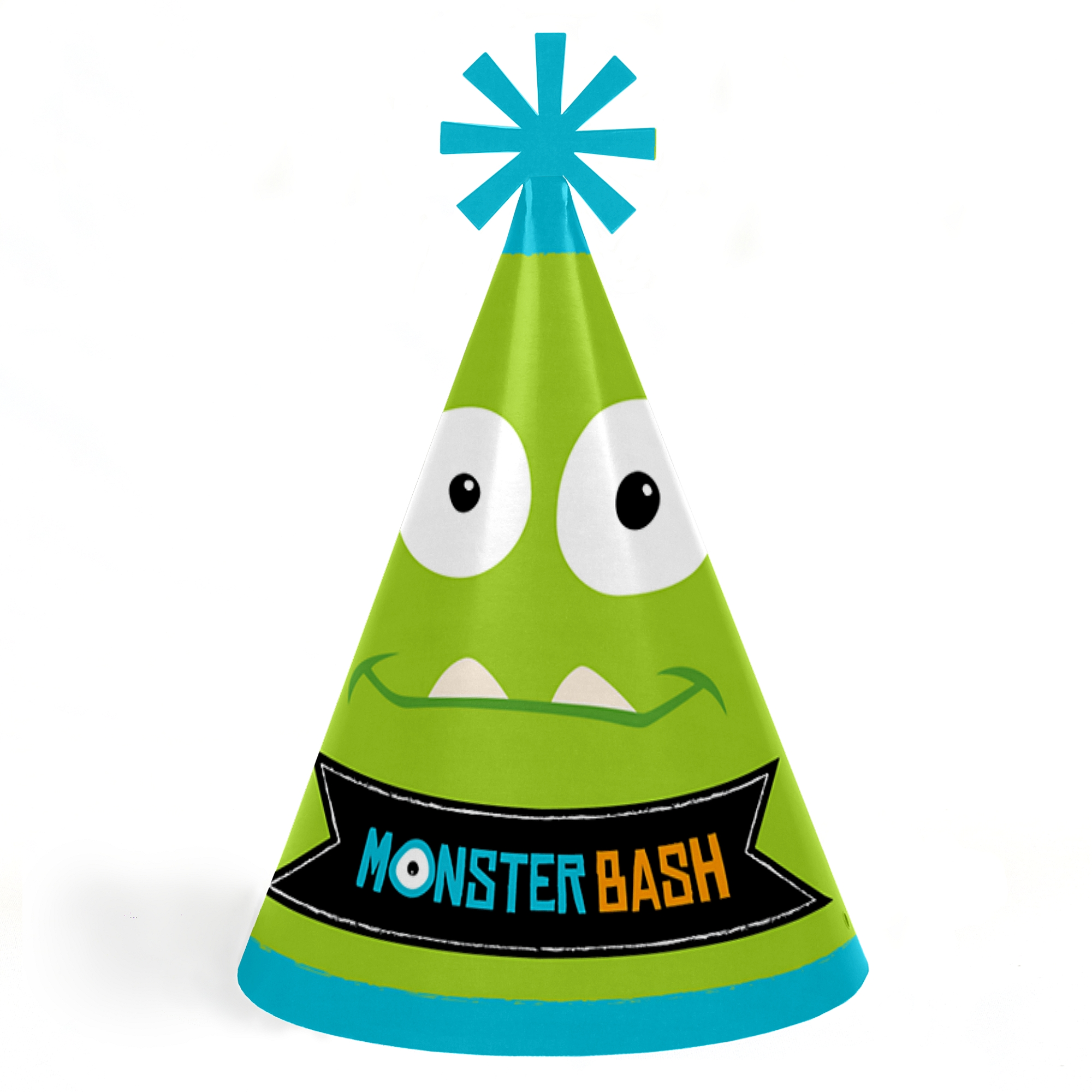 Monster Bash - Cone Little Monster Happy Birthday Party Hats for Kids and Adults - Set of 8 (Standard Size)