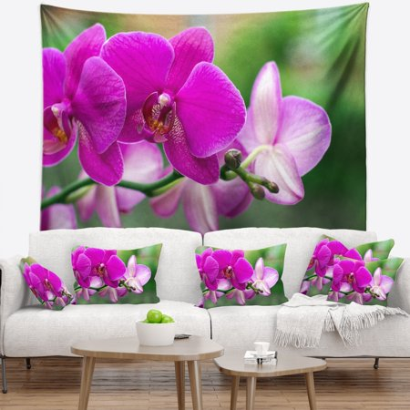 - DESIGN ART Designart 'Beautiful Orchid Flowers on Green' Floral Wall Tapestry