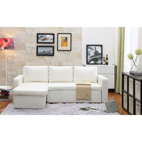 Delacora DF 9213 88 Inch Wide Sleeper Sofa with Chaise Lounge