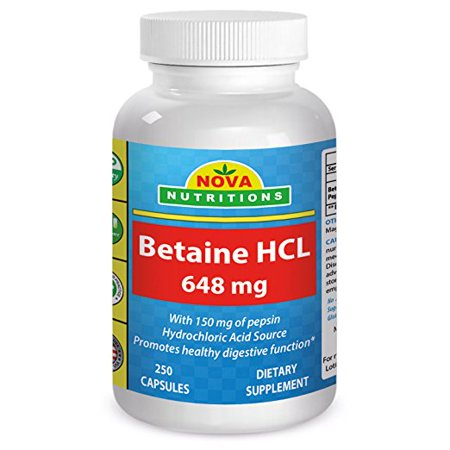 - Nova Nutritions Betaine HCL 648 mg 250 Capsules