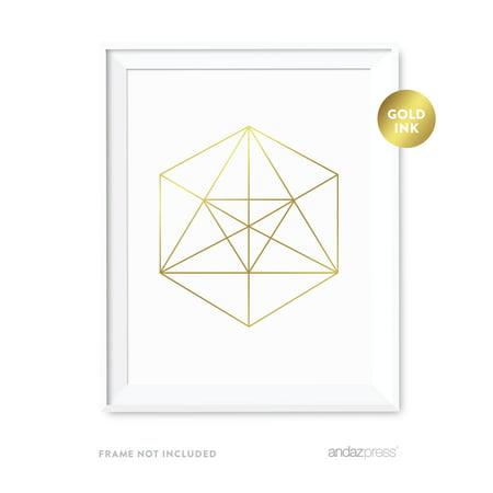 Hexagon Geometric Shapes Origami Wall Art Metallic Gold Ink Print