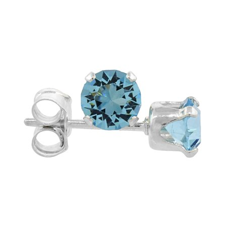 70a6185d6 WorldJewels - Sterling Silver 4mm Round Aquamarine Color Crystal ...