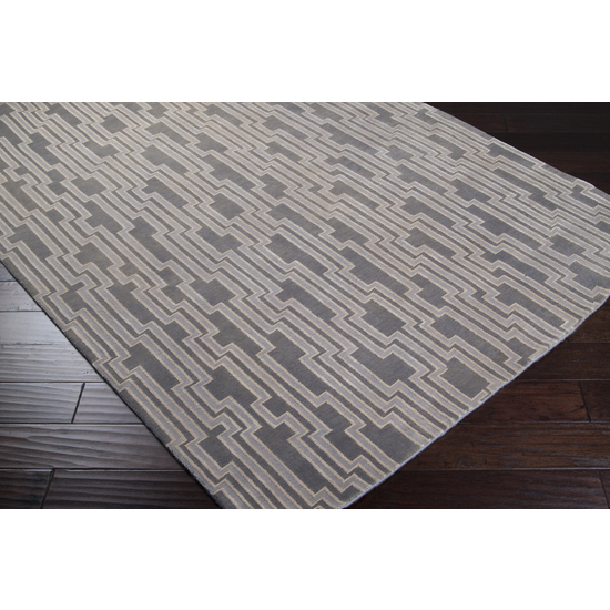 8' x 11' Maitake Gray Wool Area Throw Rug