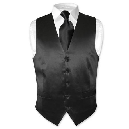 Biagio Men's SILK Dress Vest & NeckTie Solid BLACK Color Neck Tie Set