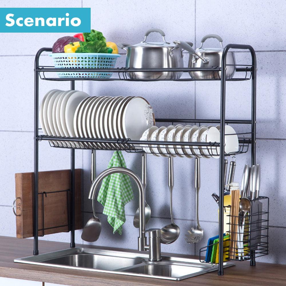 Wooden Storage Plates Rack Kitchen Drain Organizers Dish Drying Rack Stand Tool