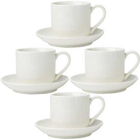 4oz. Espresso Cups Set of 4 with Matching Saucers - Premium White Porcelain, 8 Piece Gift Box Demitasse Set – Italian Caffè Mugs, Turkish Coffee Cup – Lungo Shots, Dopio Double Shot White Double Egg Cup