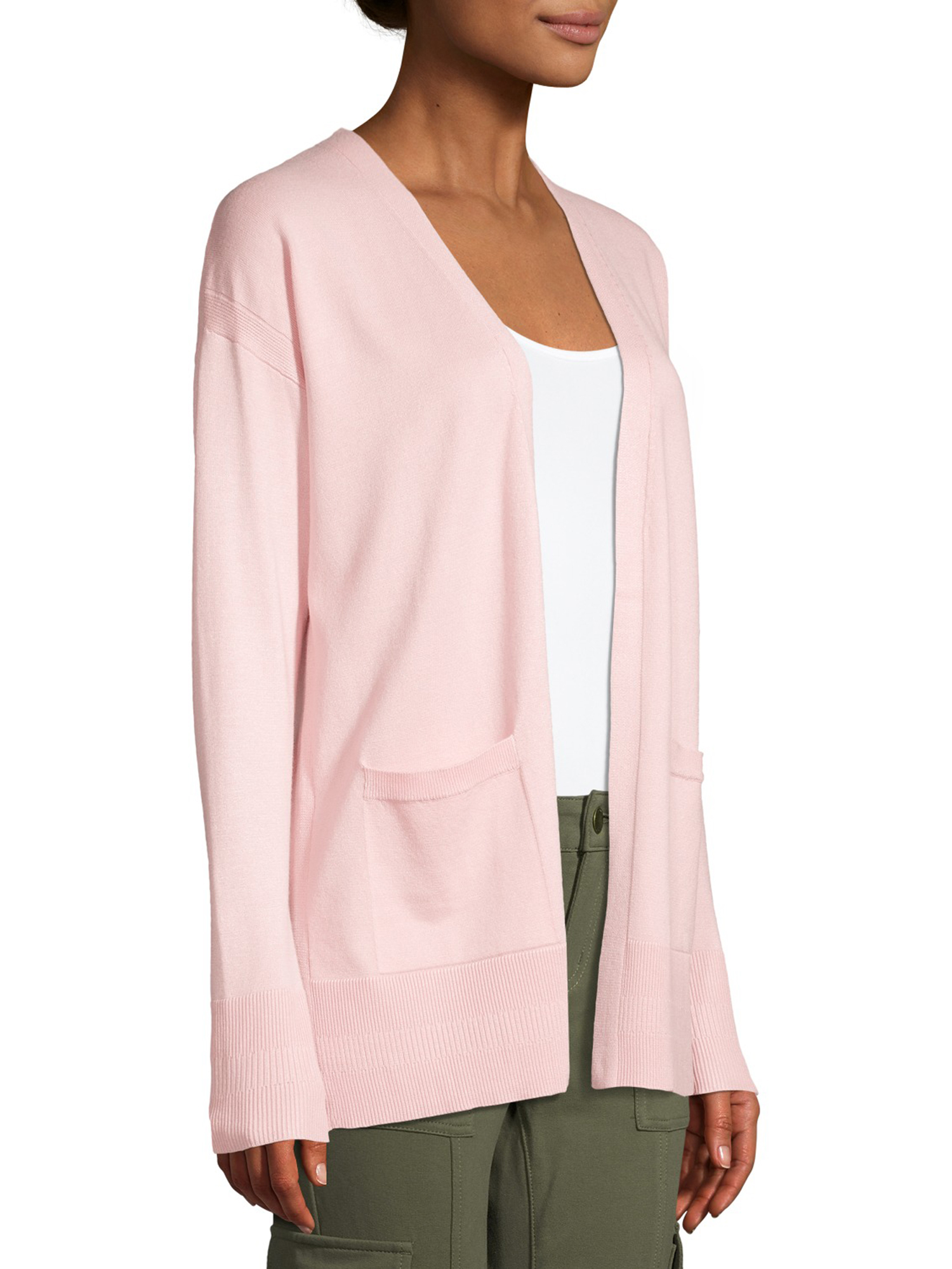 Time /& Tru Women/'s Open Front Cardigan 2 Poches Sweater