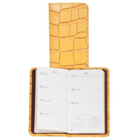 Scully Yellow Large Croco Leather Pocket Weekly Planner Organizer 1008-29-41-F