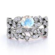 1.34 ct Vintage Round Rainbow Moonstone & Diamond Flower Wedding Ring Set in 10K White Gold