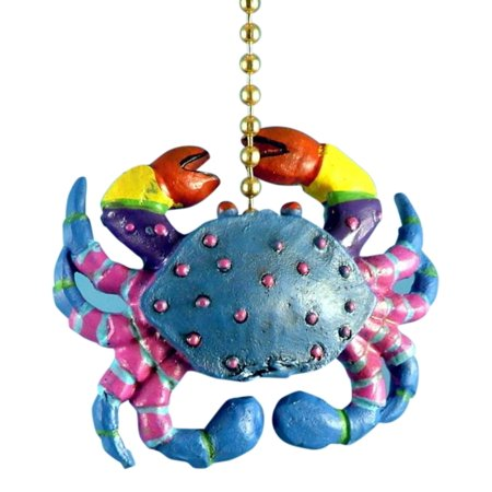 Whimsical Blue Crab with Pink Legs Fun Ceiling Fan Light Pull Three  Dimensional