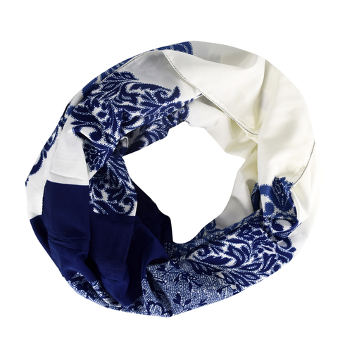Peach Coutue Damask Pattern Infinity Loop Fashion Scarf White Navy