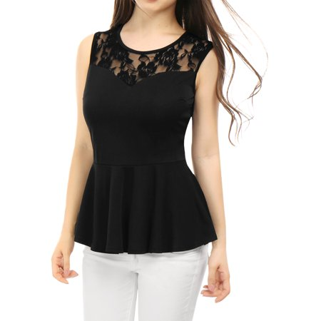 Sheer Black Lace Top - Women's Sleeveless Peplum Top with Sheer Lace Panel Black (Size XS / 2)