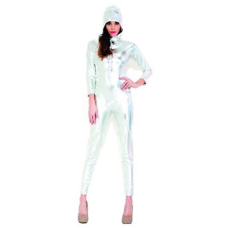 Music Legs 70772-SLV-ML Full Body Wet Look Zip Up Bodysuit with Attached Hood Accessories, Silver - Medium & Large