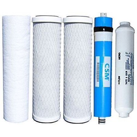 Watts Reverse Osmosis Replacement Filter Set 5 pcs w/ CSM 50 GPD Membrane ()